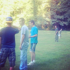 Frisbee night with 15 cousins.